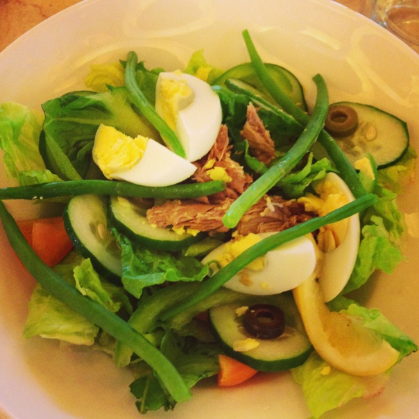 Salad ways: Changing up when eating out. My nicoise sans potatoes and the dressing.